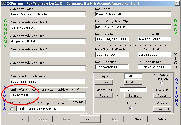 GCFormer Account Records Manager Dialog